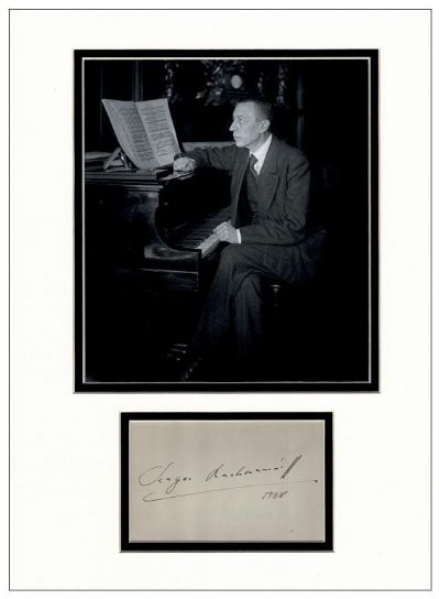 Sergei Rachmaninoff Autograph Signed Display